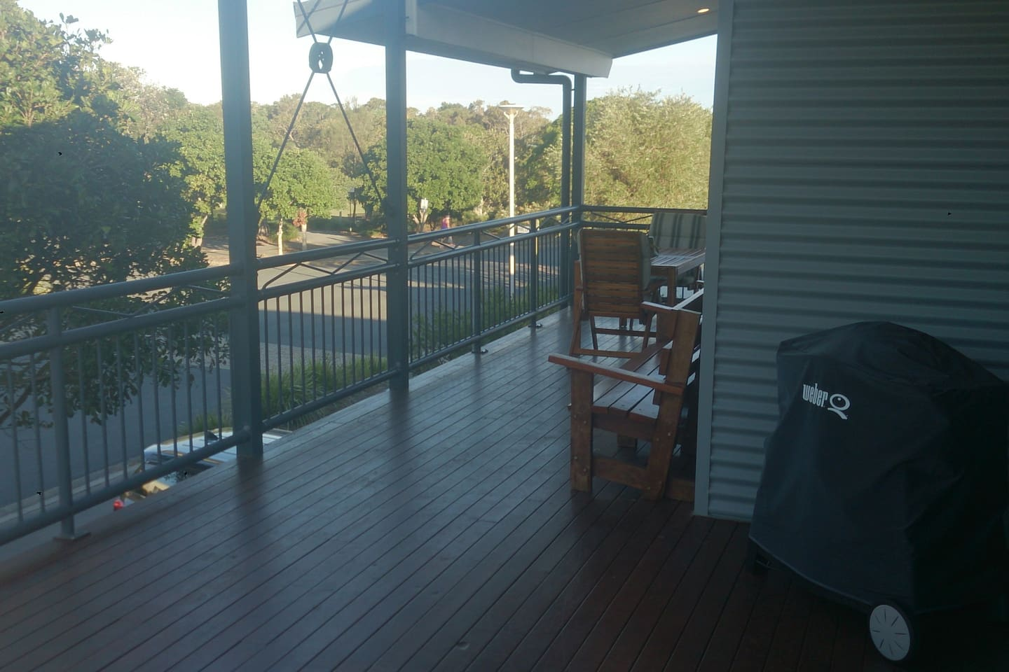 Front deck view of park leading to the beach.