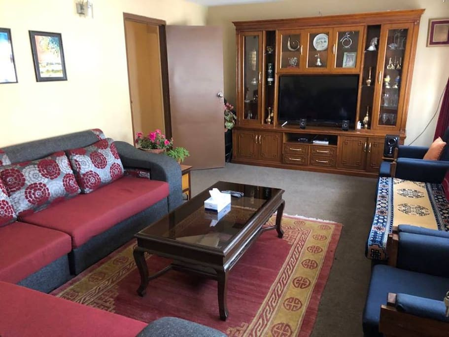 This living room features three couches, as well as two chairs. The Smart TV has Youtube & Netflix, and there are also Bluetooth speakers for use.