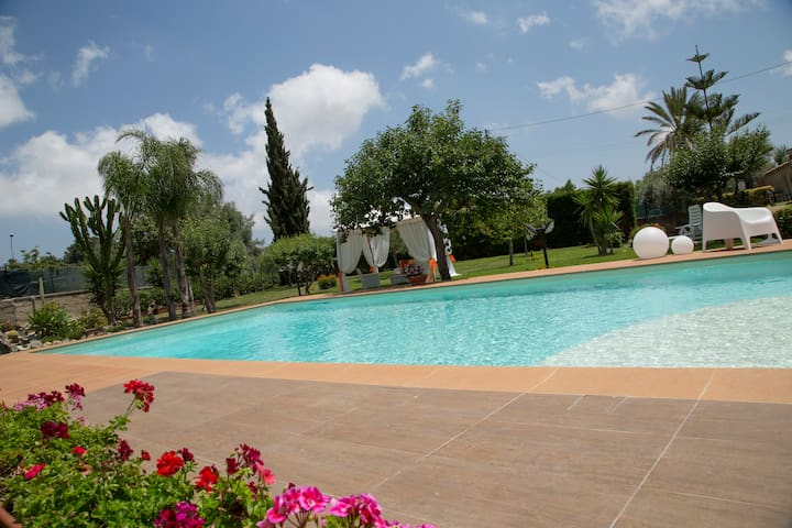 Villa with pool surrounded by green