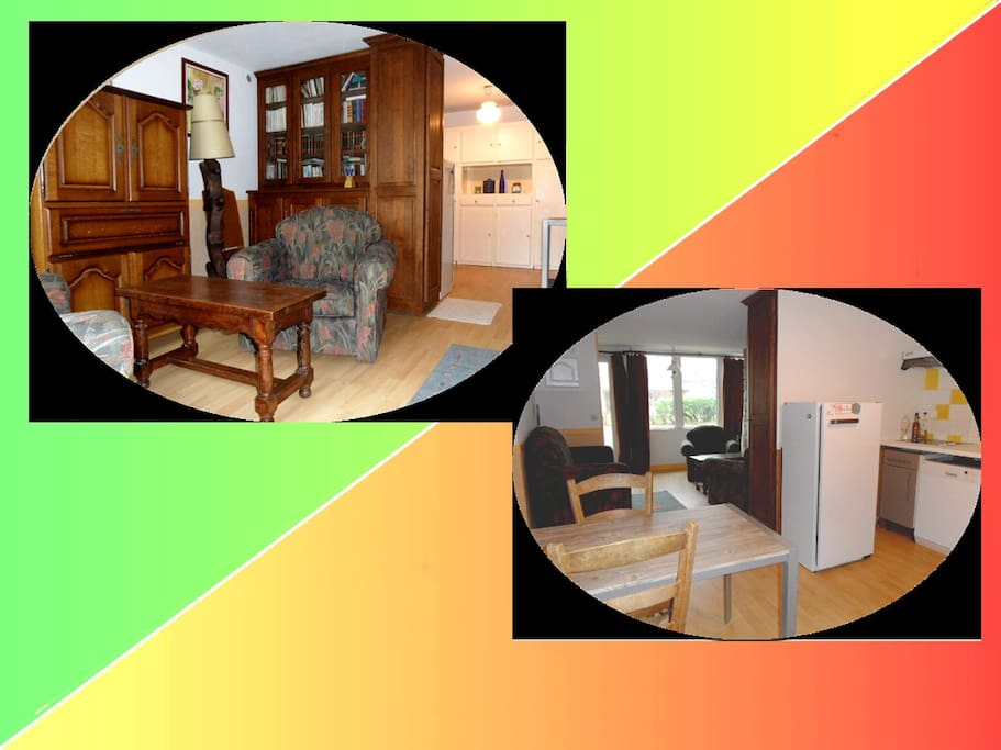 le salon vue 1 fois vue de l'entrée et vue de la cuisine
