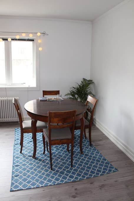 Dining. We have up to eight chairs, and the table can be extended.