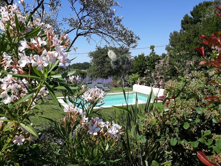 Gîte L'Oliveraie, climatisé, spa, piscine chauffée