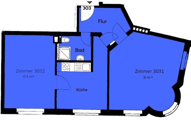 21 qm Zimmer im schönen Giebichensteinviertel