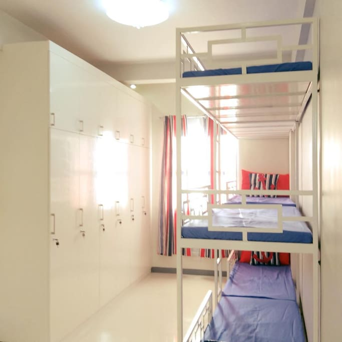 Each room has 6 individual cabinets with locks. Size 50cm with and 240cm height cabinet per person.
