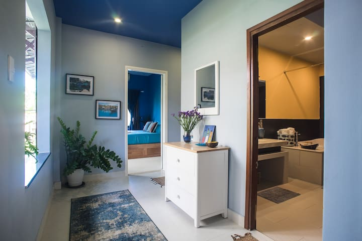 Entering the trasera...a fully rebuilt (2019) back section of two bedrooms, luxury bath and delightfully lit hallway.