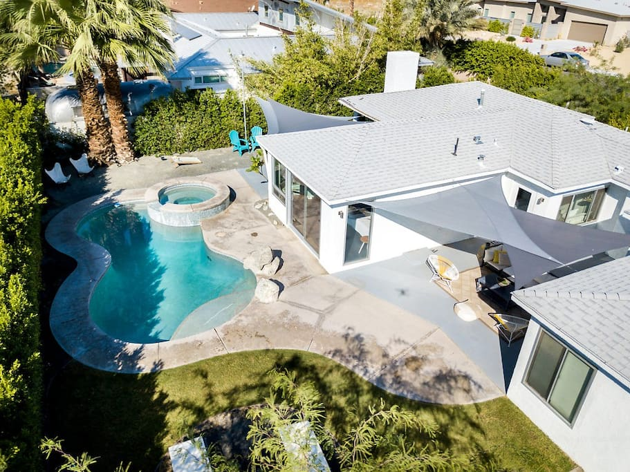 Aerial view of the backyard of our home. We hope you love or yard and home as much as we do!
