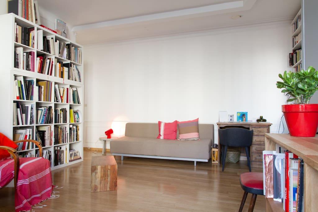 Living room with sofa to sleep