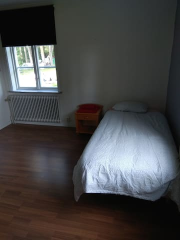 Bedroom 1. 2 single beds. Travel cot and drop down mattress available.