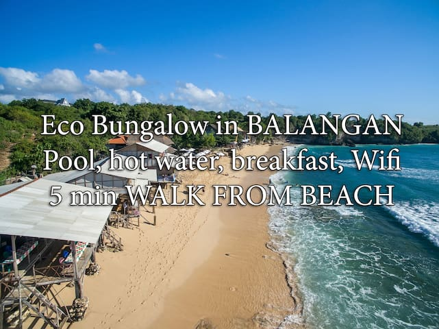 QUIET BUNGALOW - 5min to beach, wifi, pool, bfst B