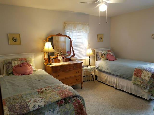 Bedroom with 2 extra long twin beds.