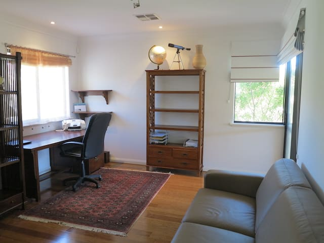 2nd room upstairs: as a study. Please let us know if you would like the foldaway prepared as another bed.