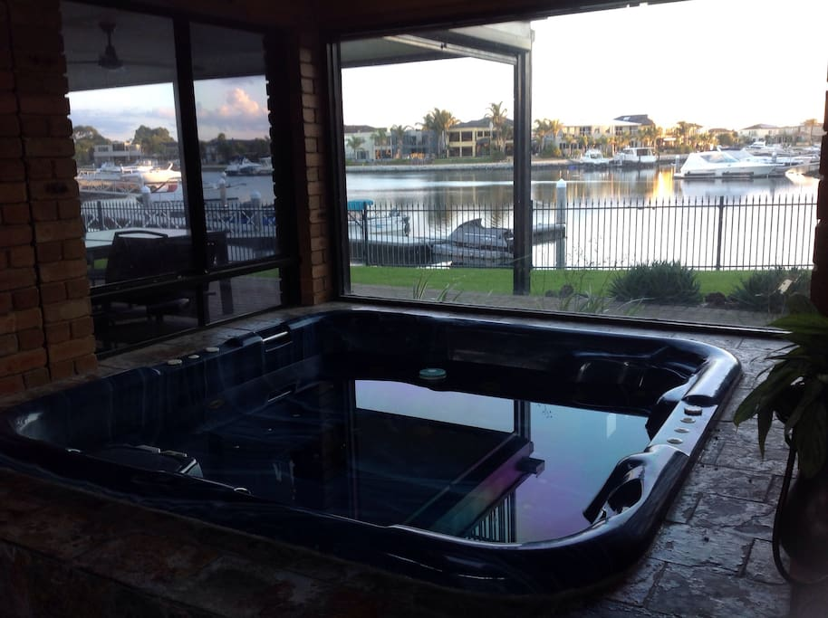 Gas heated spa with views.
