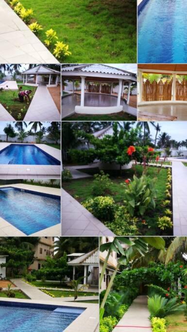 Vue générale extérieure du jardin, piscine et paillotes