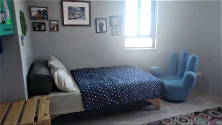 Bedroom with full double bed for 1 adult or 2 children.   The bedroom has room for 2 extra mattresses on the floor for children.