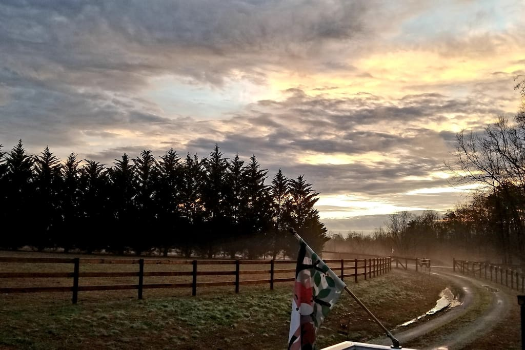 Beautiful sunrise over Fresh Start Farm on New Year's Day 2019.