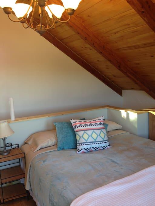Comfy queen bed in loft