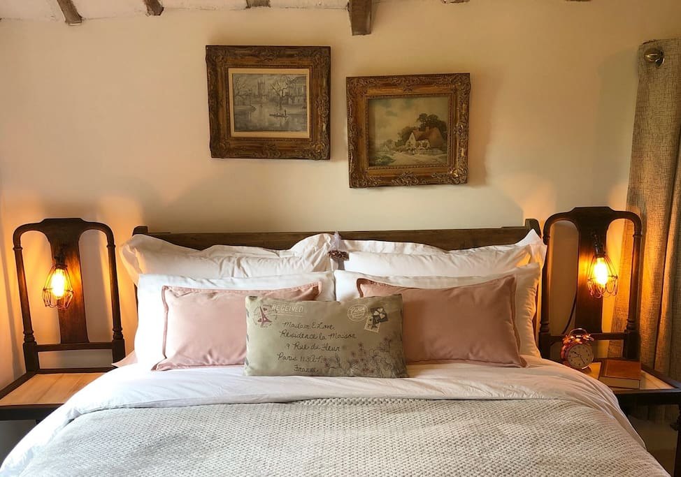 Double bed  memory foam mattress, Egyptian cotton bed linens.