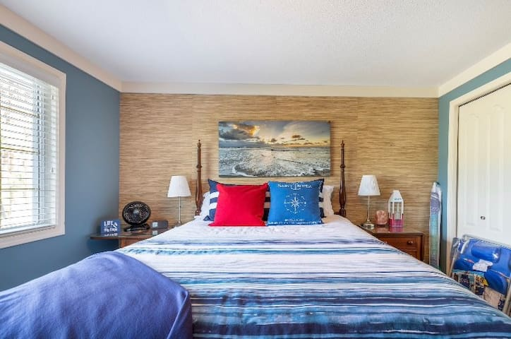 The Blue Room is on our entry level and has its own bathroom with custom walk-in shower