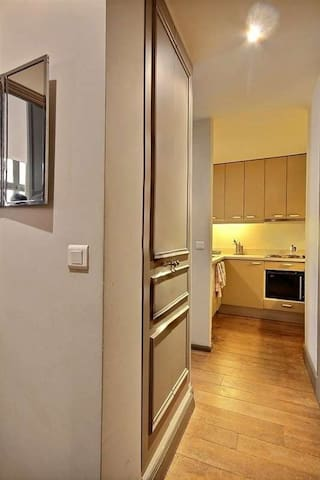 Entrance: The 4 square meters entrance hall leads directly to :bathroom, bedroom, kitchen. The washer and the dryer are in a closet.