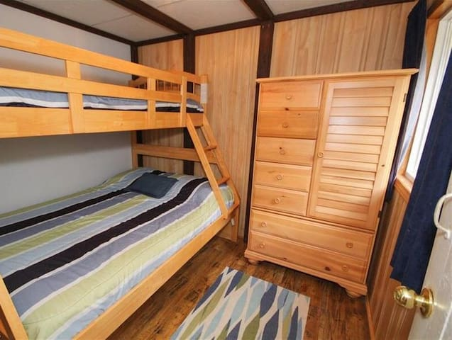 Second Bedroom - Bunk Beds and dresser.  (Under this bed is also some toddler bed rails as well as a pack and play)