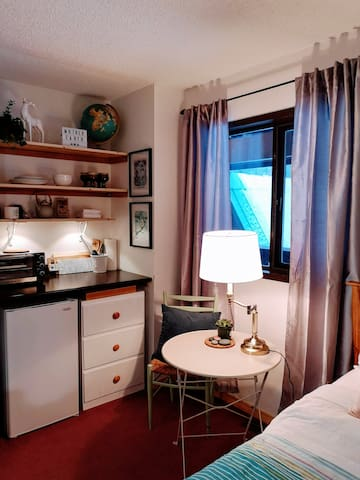 Kitchenette has toaster oven, single induction stove top, kettle, French press, tea pot, cutlery, dishes, pots and pans, sharp knives, dish rack, coffee, tea, honey, salt and pepper.