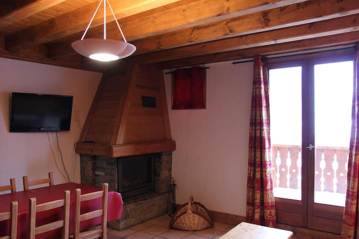 comfortable apartment with chimney