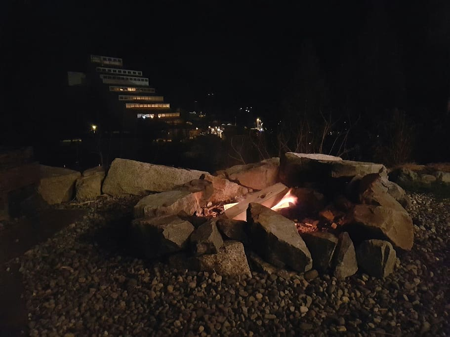 Views of the old Britannia mine and Howe Sound, by the campfire.