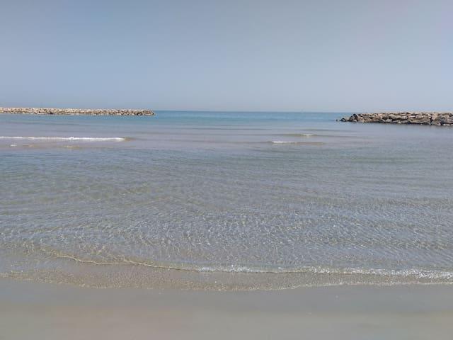 Beach, train & supermarket 5 min. walking distance