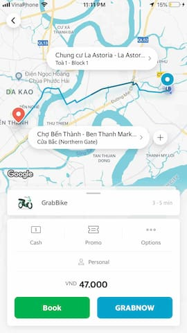 $2 if you travel by Grab bike to Ben Thanh market (city center)