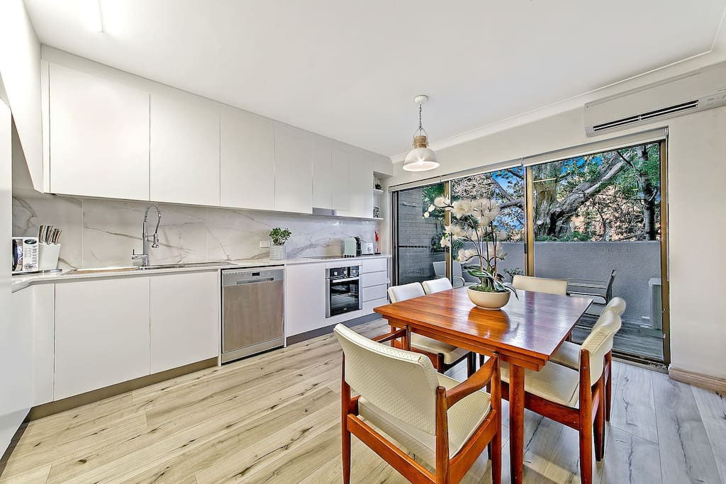 Kitchen with access to entertaining balcony