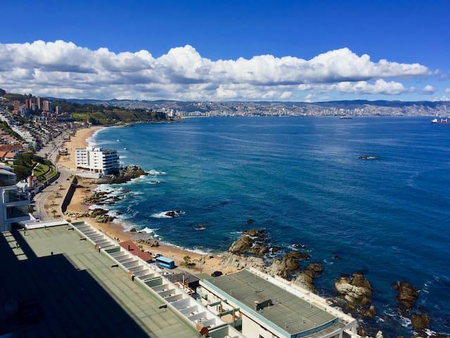 Reñaca Depto vista panoramica frente a la playa 7A