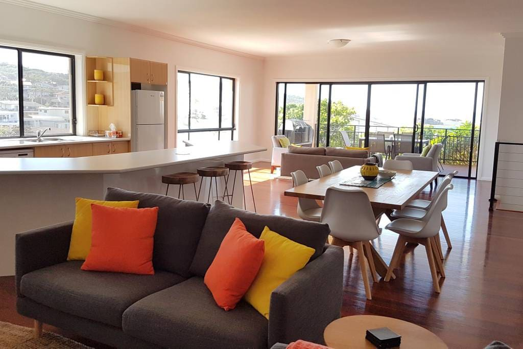 Open and contemporary living and dining
