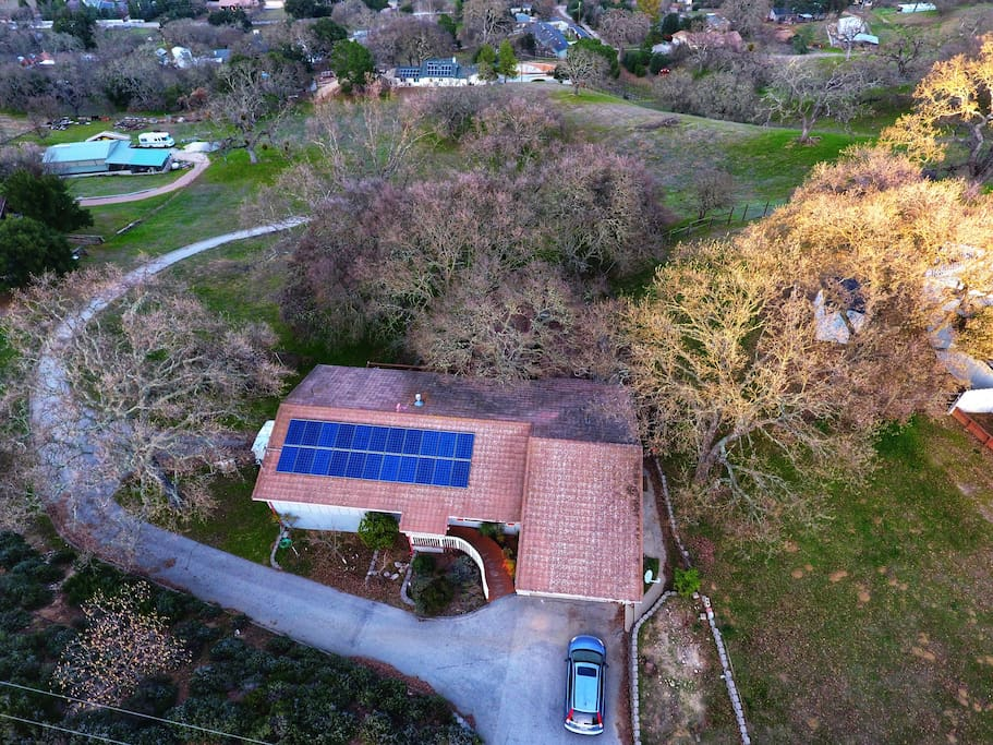 Birdview of this beautiful house on 2.6 acres.