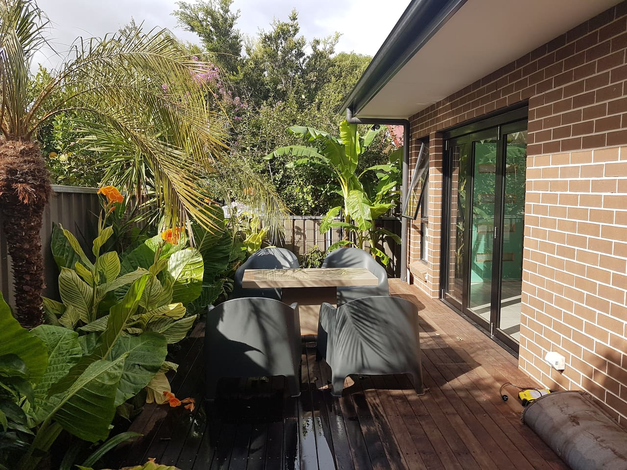 Room in resort style serviced apartment - your own tropical oasis. Make your stay feel like a holiday! Pool available for guest use. Full kitchen and laundryfacilities. Breakfast provided. Linen provided. Artwork to amuse (see the amazing fridge!)