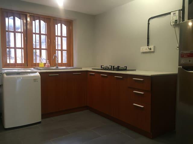 Kitchen Cabinet with Microwave, Refrigerator, Washing Machine