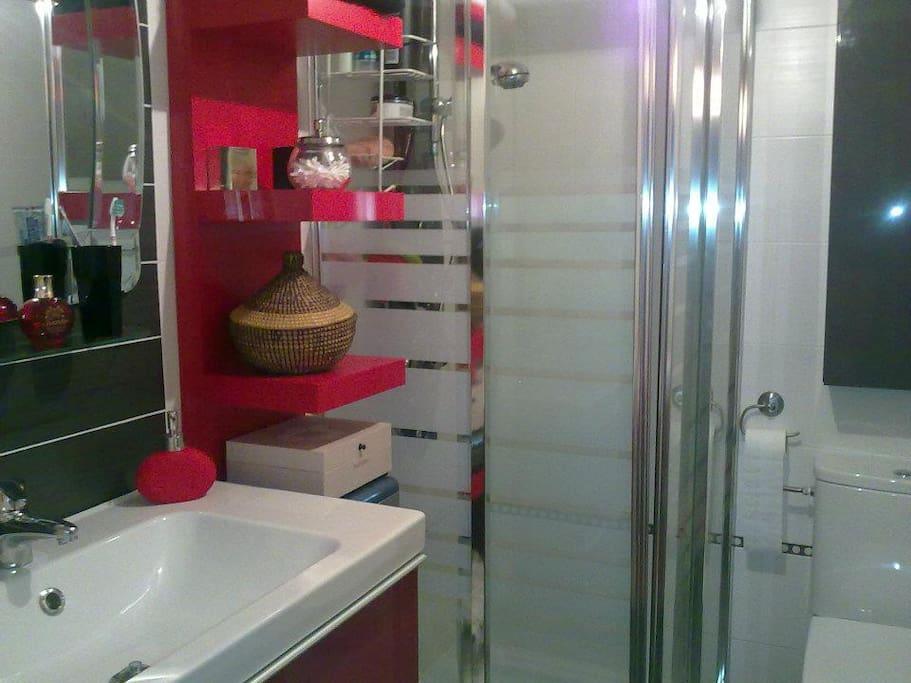 Baño completo dentro de la habitación.