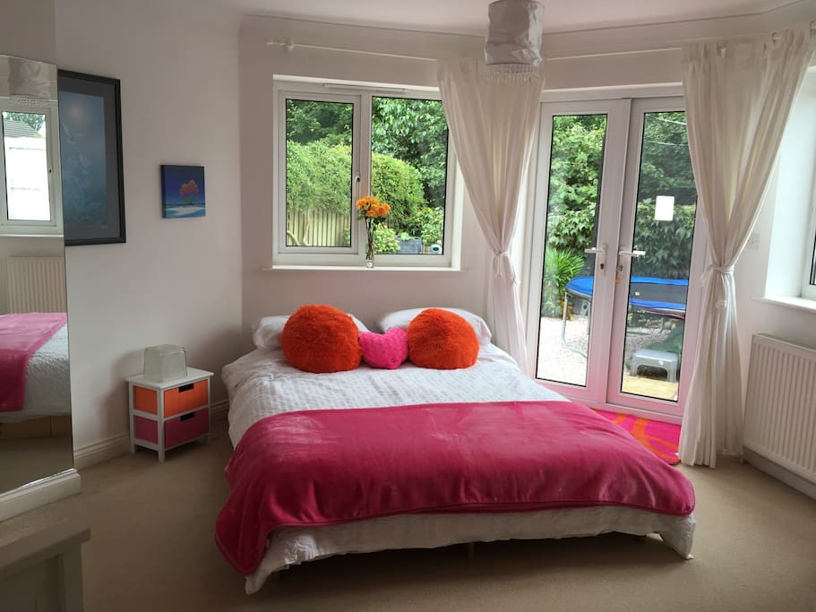 Direct access to the garden and hot tub and trampoline. Mini fridge and kettle in room for hot and cold drinks