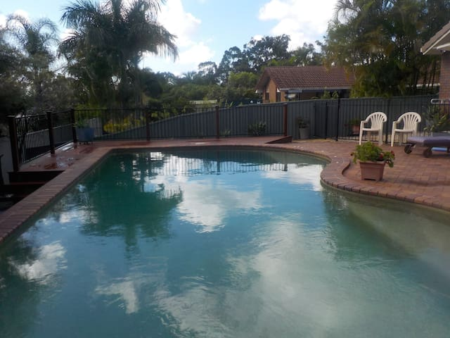 A beautiful 10 metre salt water pool for your enjoyment set in a lovely private garden & BBQ. Feel free to invite your family & friends over. Enjoy