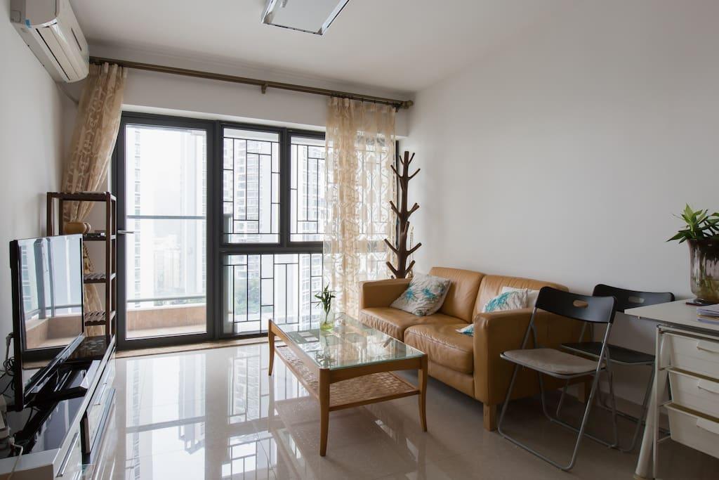 Great sun light in the living Room. 超大屏幕液晶彩电。 舒服的真皮沙发,工作台。衣帽架……