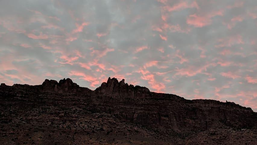 Beautiful sunset view of Moab Rim area.