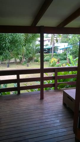 Front view from decking