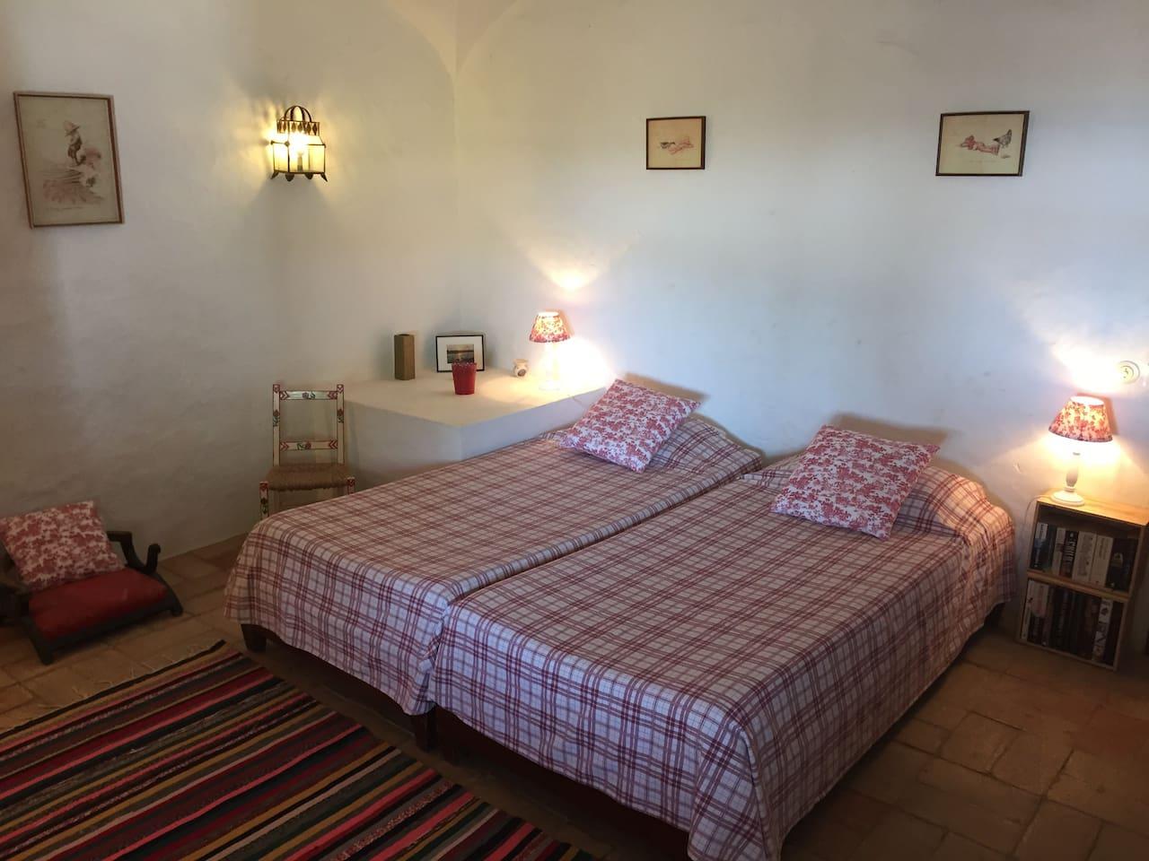 Red Bedroom beds arranged together