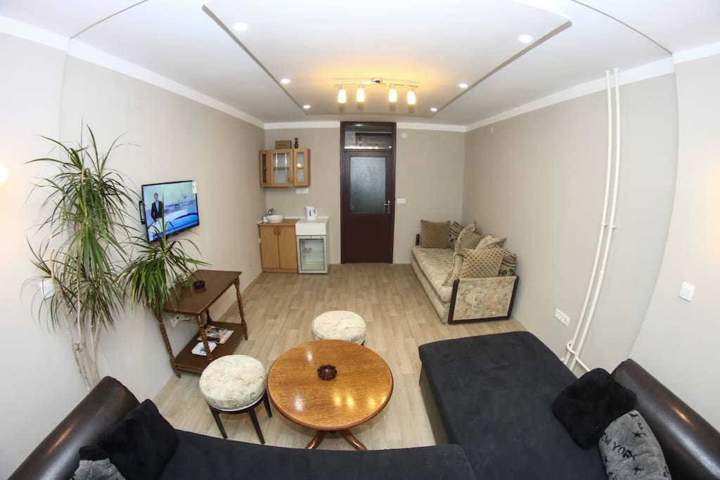 Big living room for relaxing and making fun with your frineds. Here you can watch tv , drink coffee or some other drink with friends. Even here can sleep guests.