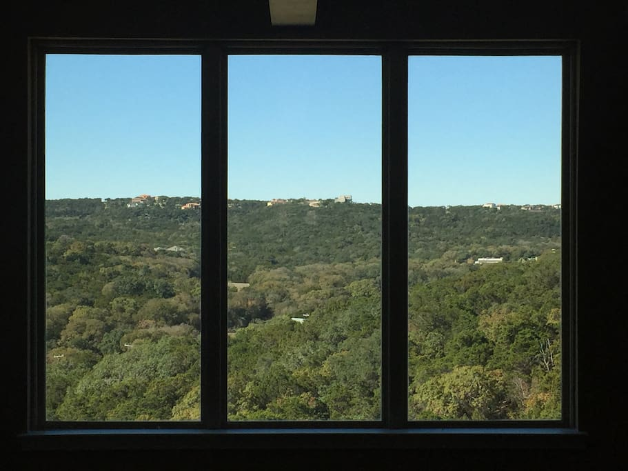 View from 2nd floor landing - looking west. San Antonio Hill Country