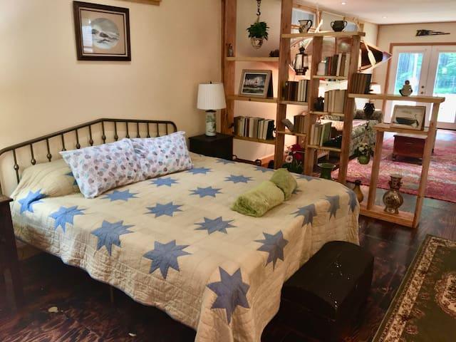 King bed in sleeping area
