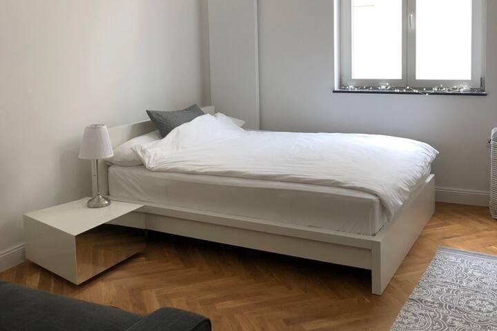 Das zu vermietende Zimmer verfügt über ein Doppelbett (1,60 m breit), eine Schlafcouch (1,60 m breit), einen Kleiderschrank und eine Kommode.