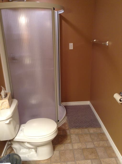 Attached three piece bathroom, towels provided.