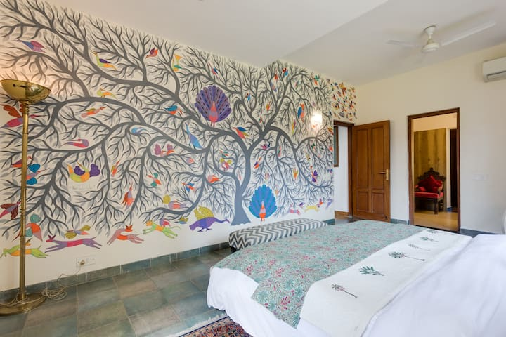 The hand painted wall of our bedroom