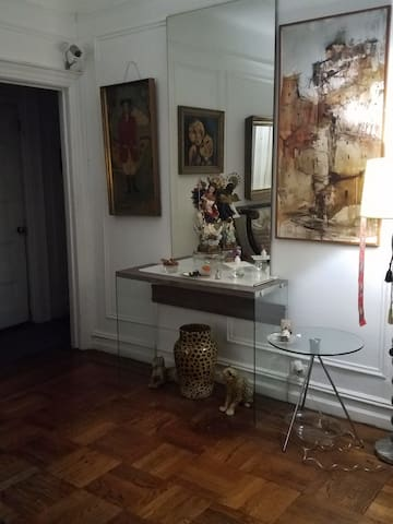 living room in a classic 115 y old building , charming , UES  -- not all a new sterile  box