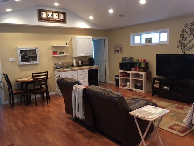 Super comfy furniture, kitchenette, nice big TV with cable and DVD player